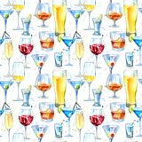 Seamless pattern of a shampagne,martini,whiskey,vodka, wine,liquor, beer, cognac and cocktail. vector illustration