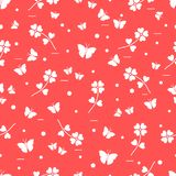 Seamless pattern with shamrock and butterflies. Saint Patrick\'s Day. Irish clover St. Patrick\'s Royalty Free Stock Photography
