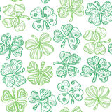 Seamless pattern with shamrock on white background. stock illustration