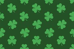 Seamless pattern with Shamrocks. Flat style. isolated on green background vector illustration