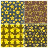 Seamless pattern shape silhouette shiny star background vector illustration. Stock Images