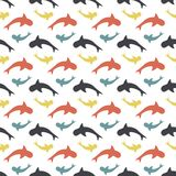 Color pattern with sharks. Seamless pattern with sharks on white, wallpaper with color sharks, background of fish Stock Photos