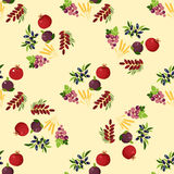 Seamless pattern with Shavuot species. Fig, pomegranate, wheat, , grapes, olive, date fruit Royalty Free Stock Photo