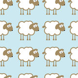 Seamless pattern with sheep on blue background. Royalty Free Stock Photos