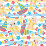 Seamless pattern of sheep boy and toys on striped background vector cartoon illustration for kid wrapping paper. Kid fabric clothes, and wallpaper Royalty Free Stock Photos