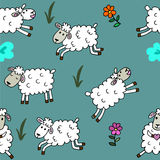 Seamless pattern with sheep colored for babyroom Royalty Free Stock Photography
