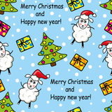 Seamless pattern with sheep, gifts and Christmas trees Royalty Free Stock Photos