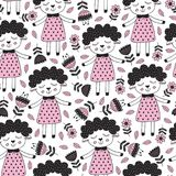 Seamless pattern with sheep girl and flower in Scandinavian style Royalty Free Stock Photography