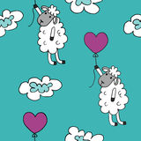 Seamless pattern sheep with heart baloon colored for babyroom Royalty Free Stock Photo
