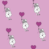 Seamless pattern sheep with heart baloon colored for babyroom Stock Photo