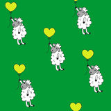 Seamless pattern sheep with heart baloon colored for babyroom Stock Photos