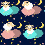 Seamless pattern with sheep at night Royalty Free Stock Image