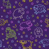 Seamless pattern with sheep in night. Endless texture can be used for printing onto fabric, paper or scrap booking, wallpaper, pattern fills, web page stock illustration