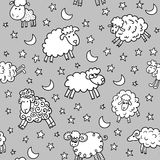 Seamless pattern with sheep in night Royalty Free Stock Image