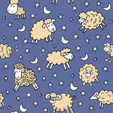 Seamless pattern with sheep in night Royalty Free Stock Photography