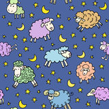 Seamless pattern with sheep in night Royalty Free Stock Photos