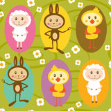 Seamless pattern with sheep, rabbit and chicken Royalty Free Stock Photography