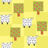 seamless pattern with a sheep under the tree Stock Photography