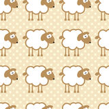Seamless pattern with sheep on warm dotted background. Stock Images