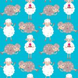 Seamless pattern with sheep Royalty Free Stock Photography