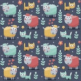 Seamless pattern sheeps, cats, flowers, animals, plants, hearts Royalty Free Stock Images