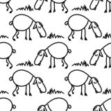 Seamless pattern with sheeps on the meadow. Funny lambs. Vector EPS10. stock illustration