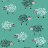 Seamless pattern with sheeps Stock Photos