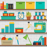 Seamless pattern shelf with tools for sewing and knitting craft tools Royalty Free Stock Photo