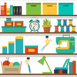 Seamless pattern shelf with tools for sewing and knitting, craft tools Stock Images