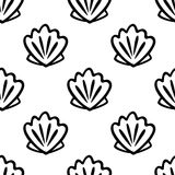 Seamless pattern with shell in marine style. Royalty Free Stock Photography