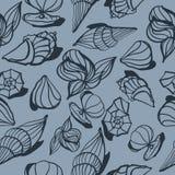 Seamless pattern with shells. Dark blue seamless pattern with sea shells, hand-drawn Royalty Free Illustration
