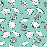 Seamless pattern with shells. Illustration Stock Images
