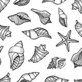 Seamless pattern with shells Royalty Free Stock Photo