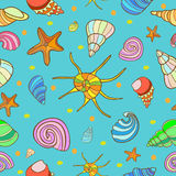 Seamless pattern with shells and sea stars. Stock Photos