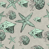 vektor seamless pattern with shells Stock Photos
