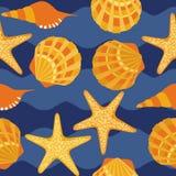 Seamless pattern, shells, starfish Royalty Free Stock Photos