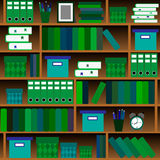 Seamless pattern shelves with books in flat design style. Royalty Free Stock Images