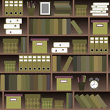 Seamless pattern shelves with books in flat design style. Royalty Free Stock Image