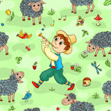 Seamless pattern with shepherd-boy Stock Photos