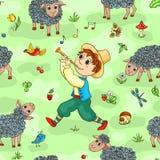 Seamless pattern with shepherd-boy Stock Photos