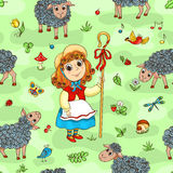 Seamless pattern with shepherd-girl Stock Images