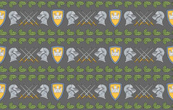 Seamless pattern with shields, swords, helmets and oak leaves Stock Photo