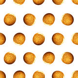 Seamless  pattern with shine glitter dots. Gold draw blots. Hand-made. Isolated on white background. Fabric print Stock Photos