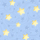 Seamless pattern with shining stars on blue. Vector illustration. Royalty Free Stock Image