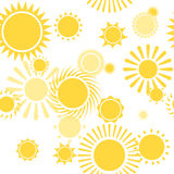 Seamless Pattern with Shiny Bright Yellow Sun Stock Photos
