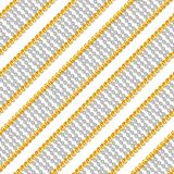 Seamless pattern with shiny gold and silver chains isolated on white background for fabric. Trendy repeating print. ready for textile prints stock photo