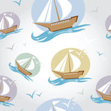 Seamless pattern with ship Stock Photo