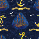 Seamless pattern with ship, anchor and rope Stock Photo