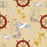 Seamless pattern with ship anchor, steering wheel  and gull Royalty Free Stock Photos