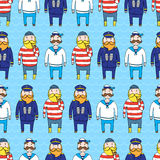 Seamless pattern with a ship crew, captain and sailors Stock Photo
